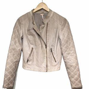 Free People Women's Boho Faux Leather Jacket sz 4